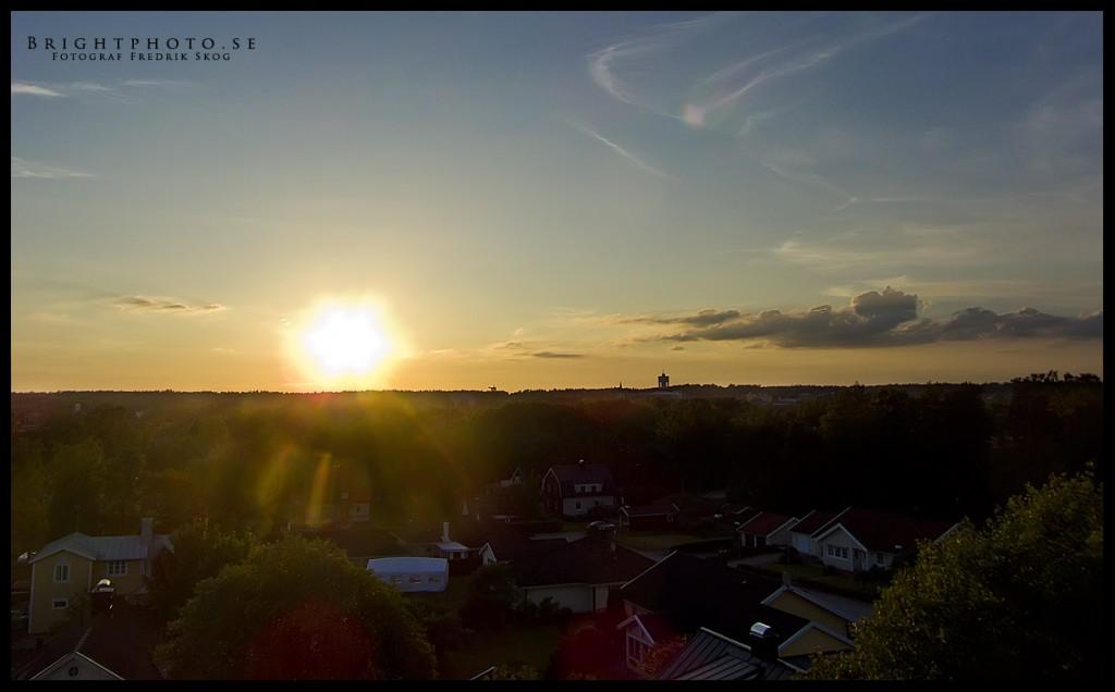 Flygfoto Ljungby. Solnedgång över Ljungby. Brightphoto.se din flygfotograf i småland