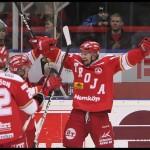 Ljungby 2012-01-06 Ishockey HockeyAllsvenskan IF Troja-Ljungby - Mora IK: Jubel efter att Troja Ljungby forward 84 Janos Vas gjort 1-0