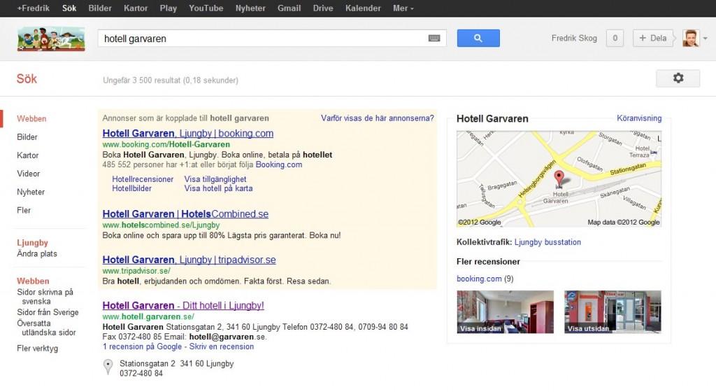 Google-sökning med Google places och Google Business Photos