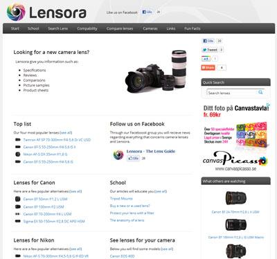 Lensora - the lens guide